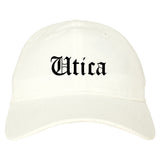 Utica New York NY Old English Mens Dad Hat Baseball Cap White