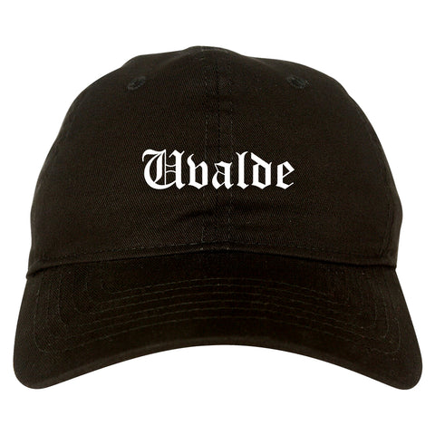 Uvalde Texas TX Old English Mens Dad Hat Baseball Cap Black