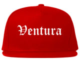 Ventura California CA Old English Mens Snapback Hat Red
