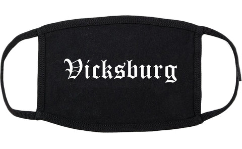 Vicksburg Mississippi MS Old English Cotton Face Mask Black