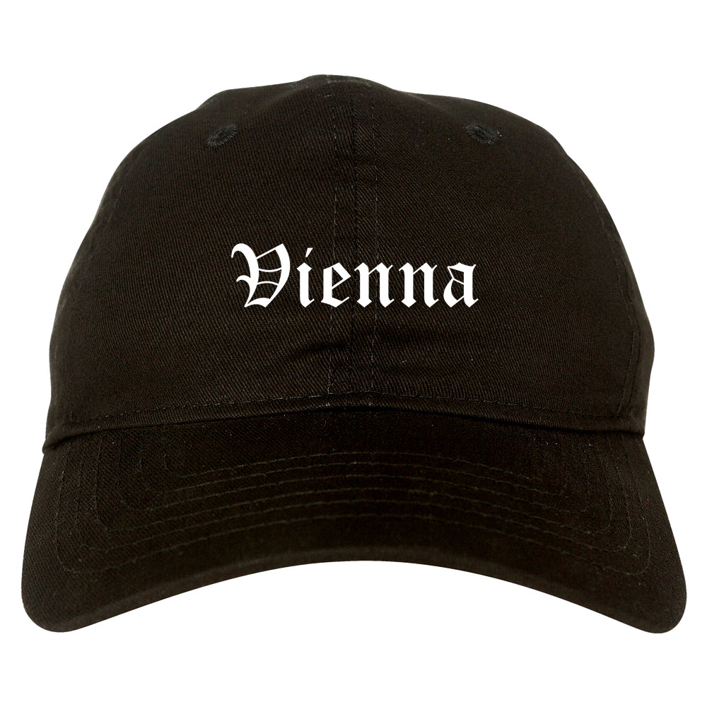 Vienna West Virginia WV Old English Mens Dad Hat Baseball Cap Black