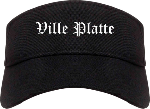 Ville Platte Louisiana LA Old English Mens Visor Cap Hat Black