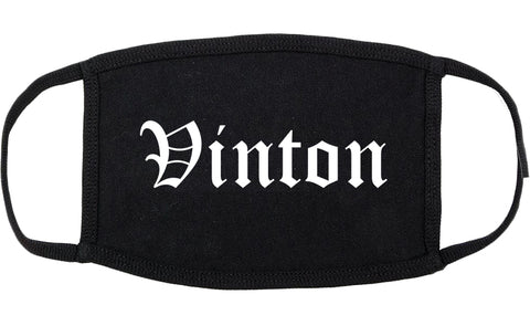 Vinton Iowa IA Old English Cotton Face Mask Black
