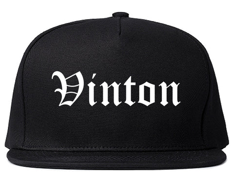 Vinton Iowa IA Old English Mens Snapback Hat Black