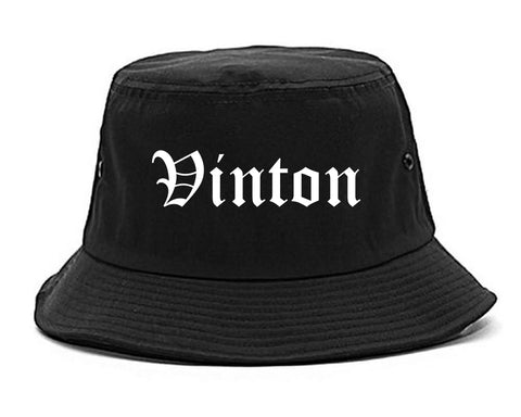 Vinton Iowa IA Old English Mens Bucket Hat Black