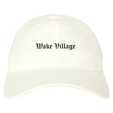 Wake Village Texas TX Old English Mens Dad Hat Baseball Cap White