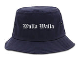 Walla Walla Washington WA Old English Mens Bucket Hat Navy Blue