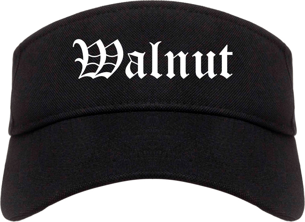 Walnut California CA Old English Mens Visor Cap Hat Black