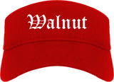 Walnut California CA Old English Mens Visor Cap Hat Red