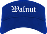 Walnut California CA Old English Mens Visor Cap Hat Royal Blue