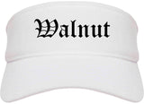 Walnut California CA Old English Mens Visor Cap Hat White