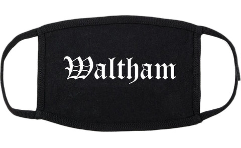 Waltham Massachusetts MA Old English Cotton Face Mask Black