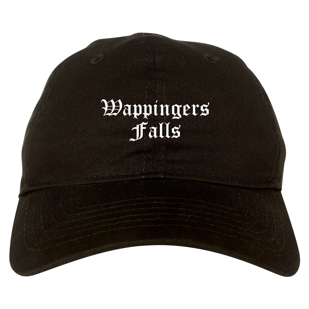 Wappingers Falls New York NY Old English Mens Dad Hat Baseball Cap Black