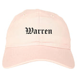 Warren Arkansas AR Old English Mens Dad Hat Baseball Cap Pink