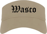 Wasco California CA Old English Mens Visor Cap Hat Khaki