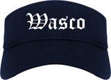 Wasco California CA Old English Mens Visor Cap Hat Navy Blue