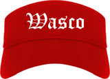 Wasco California CA Old English Mens Visor Cap Hat Red