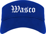 Wasco California CA Old English Mens Visor Cap Hat Royal Blue
