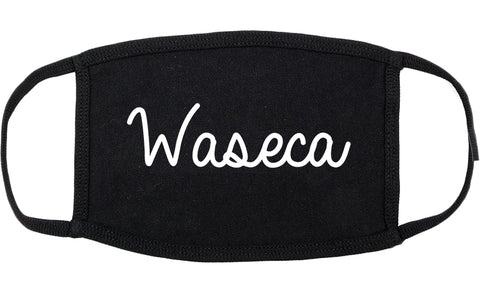 Waseca Minnesota MN Script Cotton Face Mask Black