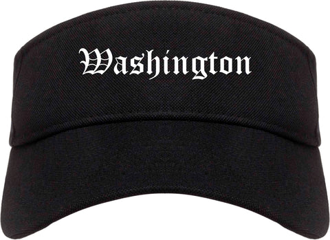 Washington Iowa IA Old English Mens Visor Cap Hat Black