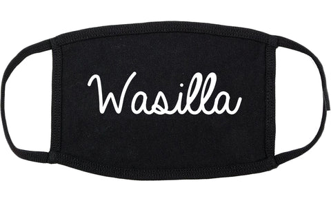 Wasilla Alaska AK Script Cotton Face Mask Black