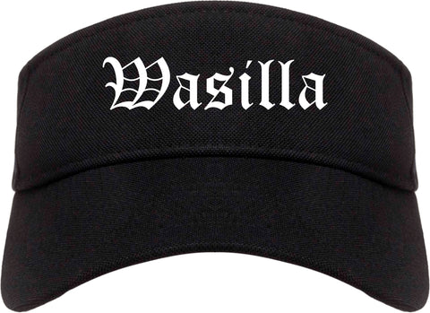 Wasilla Alaska AK Old English Mens Visor Cap Hat Black