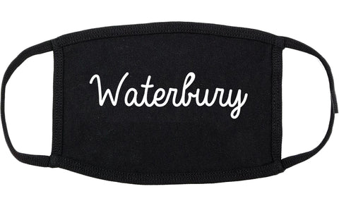 Waterbury Connecticut CT Script Cotton Face Mask Black