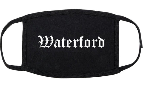 Waterford California CA Old English Cotton Face Mask Black