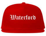 Waterford California CA Old English Mens Snapback Hat Red