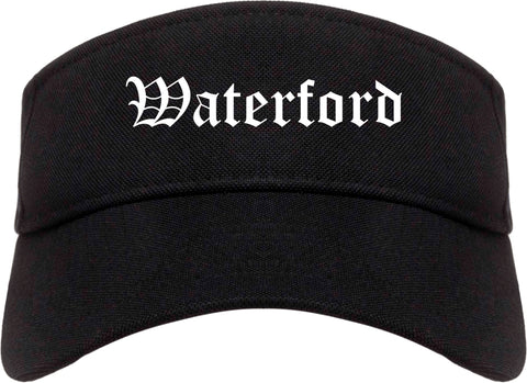 Waterford California CA Old English Mens Visor Cap Hat Black