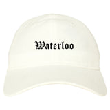 Waterloo Illinois IL Old English Mens Dad Hat Baseball Cap White