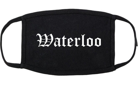 Waterloo Iowa IA Old English Cotton Face Mask Black