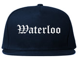 Waterloo Iowa IA Old English Mens Snapback Hat Navy Blue
