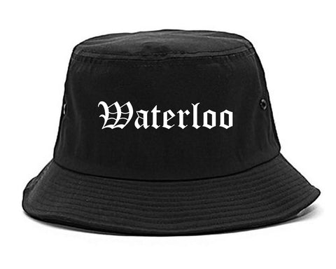 Waterloo Iowa IA Old English Mens Bucket Hat Black