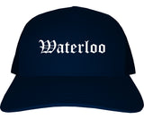 Waterloo Iowa IA Old English Mens Trucker Hat Cap Navy Blue