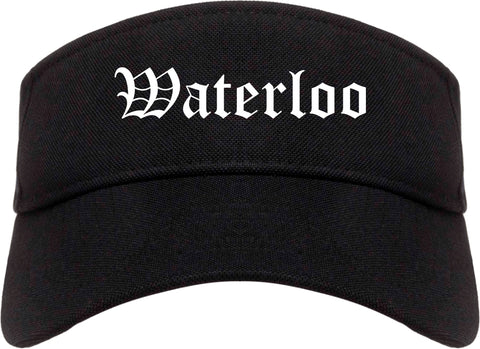 Waterloo Iowa IA Old English Mens Visor Cap Hat Black