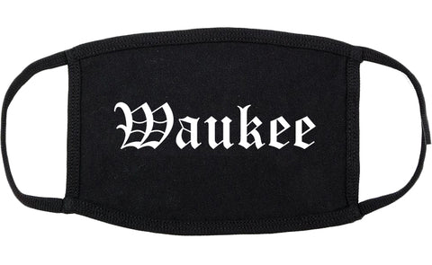 Waukee Iowa IA Old English Cotton Face Mask Black