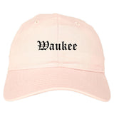 Waukee Iowa IA Old English Mens Dad Hat Baseball Cap Pink