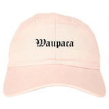 Waupaca Wisconsin WI Old English Mens Dad Hat Baseball Cap Pink