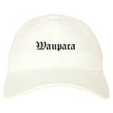Waupaca Wisconsin WI Old English Mens Dad Hat Baseball Cap White