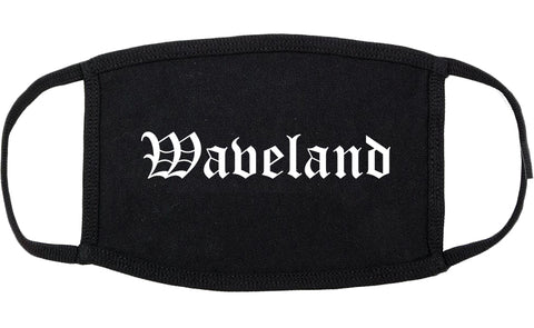 Waveland Mississippi MS Old English Cotton Face Mask Black