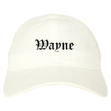 Wayne Michigan MI Old English Mens Dad Hat Baseball Cap White