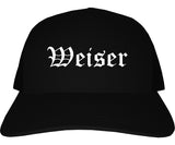 Weiser Idaho ID Old English Mens Trucker Hat Cap Black