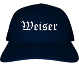 Weiser Idaho ID Old English Mens Trucker Hat Cap Navy Blue