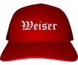 Weiser Idaho ID Old English Mens Trucker Hat Cap Red