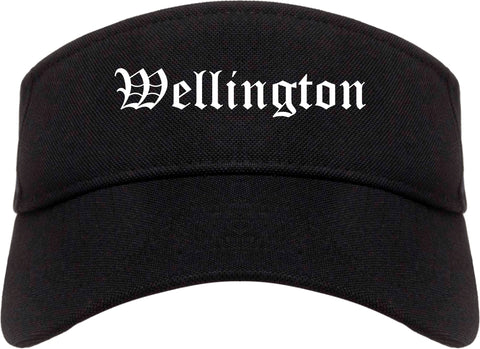 Wellington Florida FL Old English Mens Visor Cap Hat Black