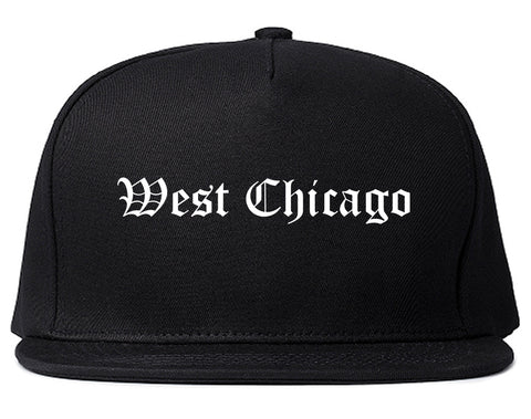 West Chicago Illinois IL Old English Mens Snapback Hat Black