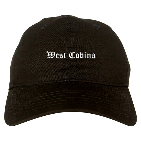 West Covina California CA Old English Mens Dad Hat Baseball Cap Black