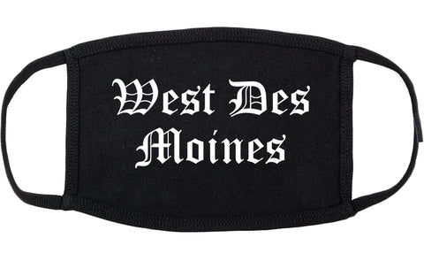 West Des Moines Iowa IA Old English Cotton Face Mask Black