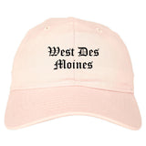 West Des Moines Iowa IA Old English Mens Dad Hat Baseball Cap Pink